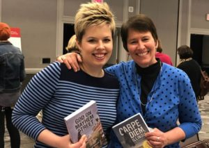 Kristin at the Writers Institute Book Fair with her daughter Caitlin
