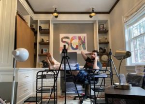 John Krasinski in his home office recording SGN