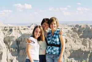 Kristin with her daughters in the Badlands
