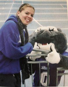 Caitlin with the Drake University Bulldog Mascot