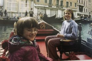 Jessica and Caitlin in a gondola