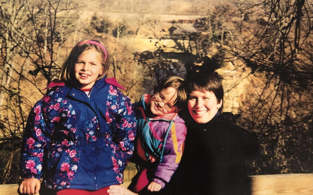Caitlin, Jessica, and Kristin in the woods in late fall