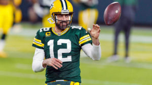 Aaron Rodgers in his Packer uniform