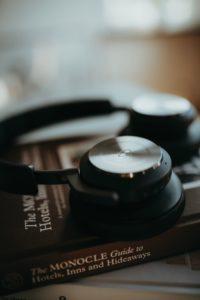 Headphones on book