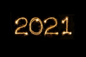 The number 2021 in sparkles