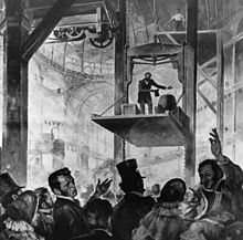 Elisha Otis standing on his elevator at the 1853 New York City World's Fair