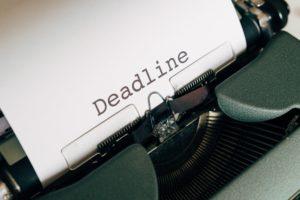 "Typed word ""Deadline"" in a typewriter"