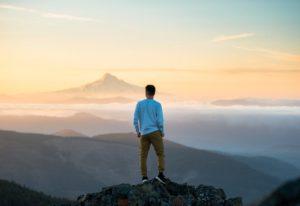 Man on a mountaintop