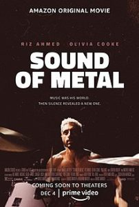 The Sound of Metal poster with Riz Ahmed at the drums