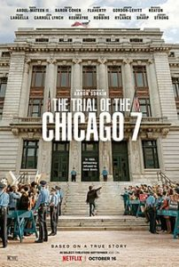 The Trial of the Chicago 7 poster of a crowd outside the Supreme Court building
