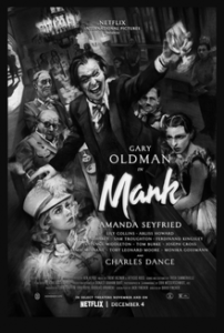The official Mank poster - black and white illustration with all the main characters