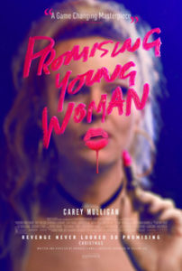 A Promising Young Woman movie poster of Carrie Mulligan writing in lipstick on a mirror