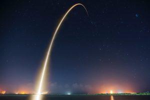 Rocket shot into the night sky