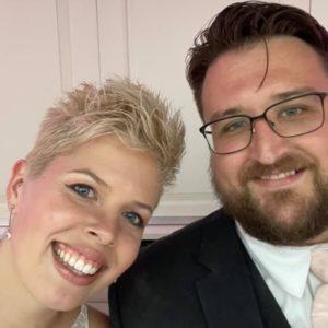 Caitlin and Sean on their wedding day